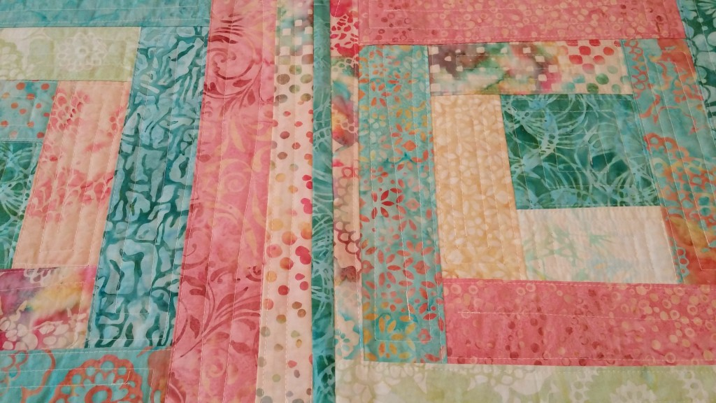 Small portion of quilt by Sue Williams using Red Square pattern from Quilt As-You-Go Made Modern