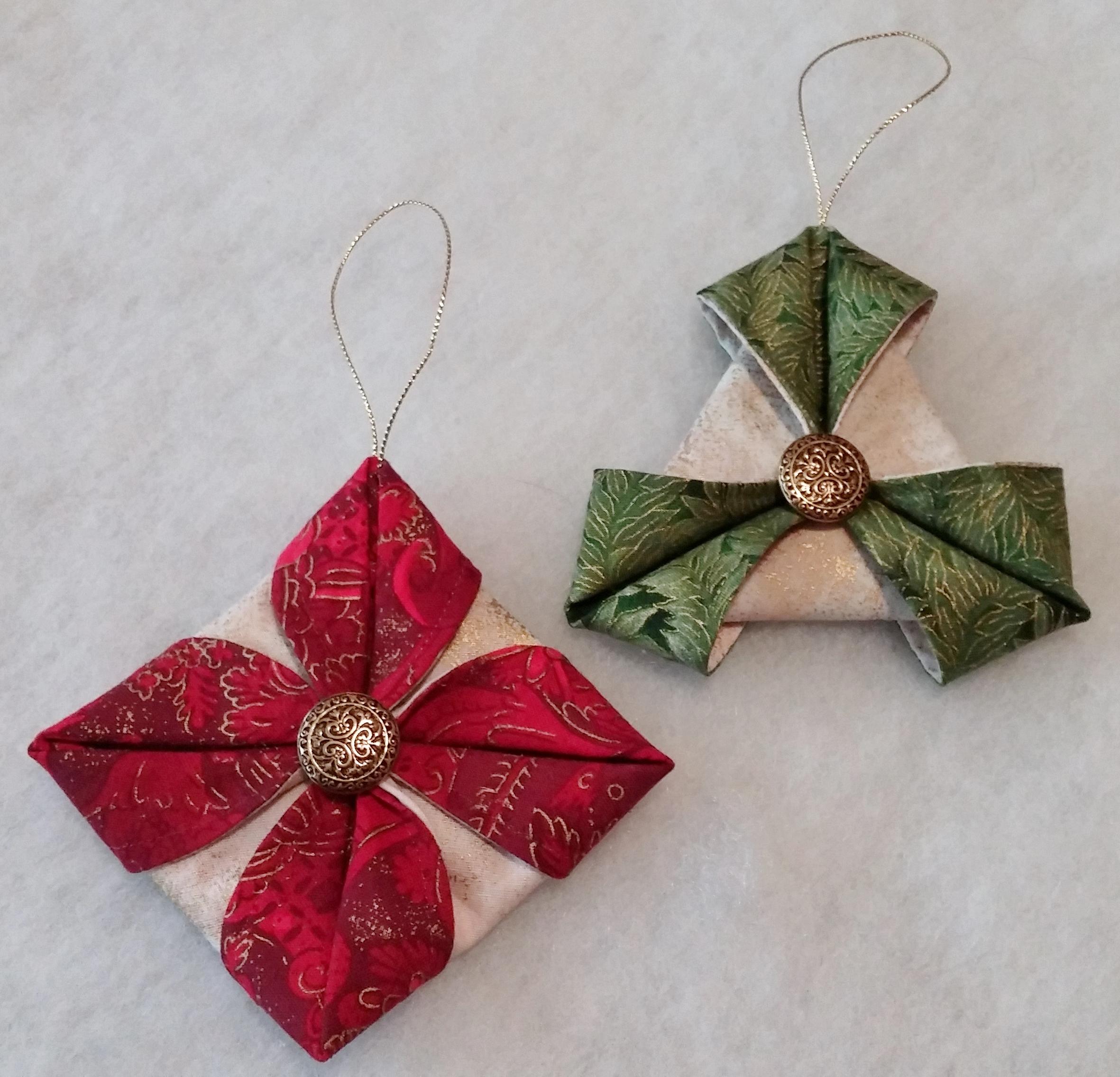 Folded Fabric Ornaments To Sew Tutorial Part 2 Beth Ann Williams